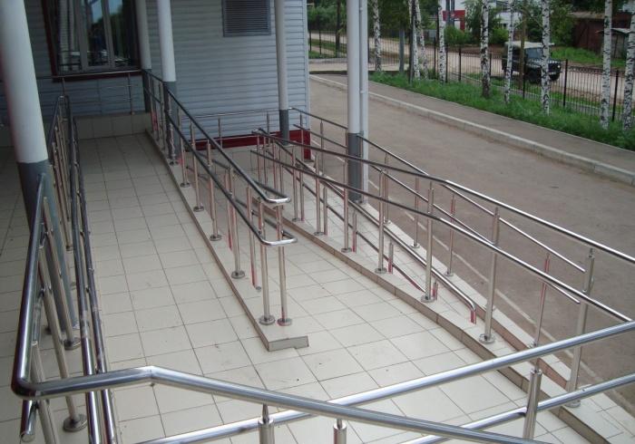 Общественное здание - перила и поручни для инвалидов из нержавеющей стали